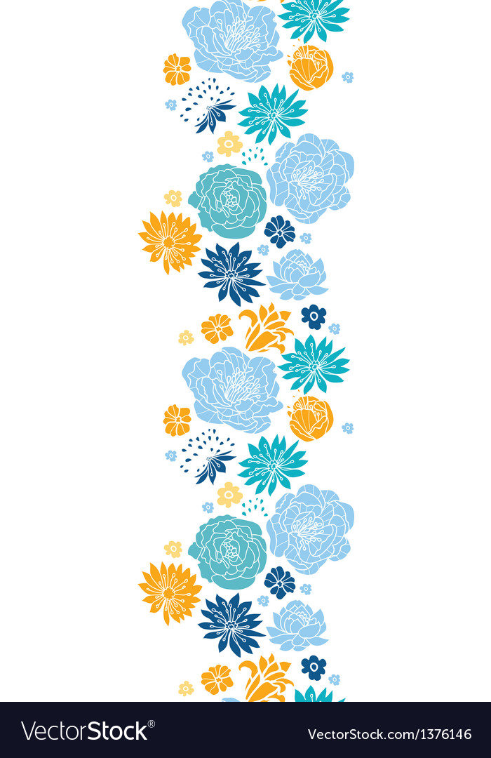 Blue and yellow flowersilhouettes vertical vector image