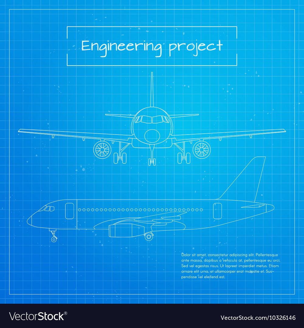 Plane engineering aircraft blueprint background vector image malvernweather Choice Image