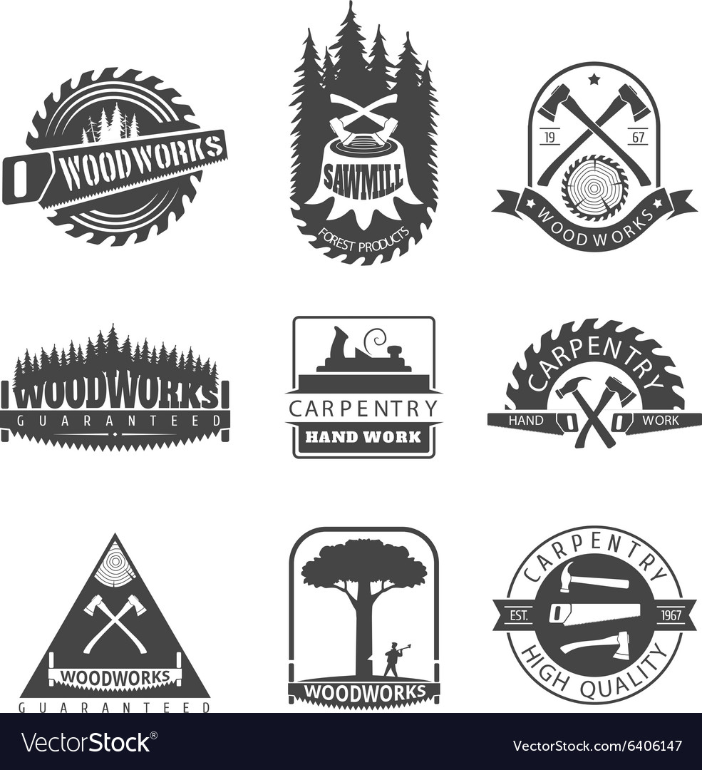 Carpentry sawmill and woodwork vintage logos vector image