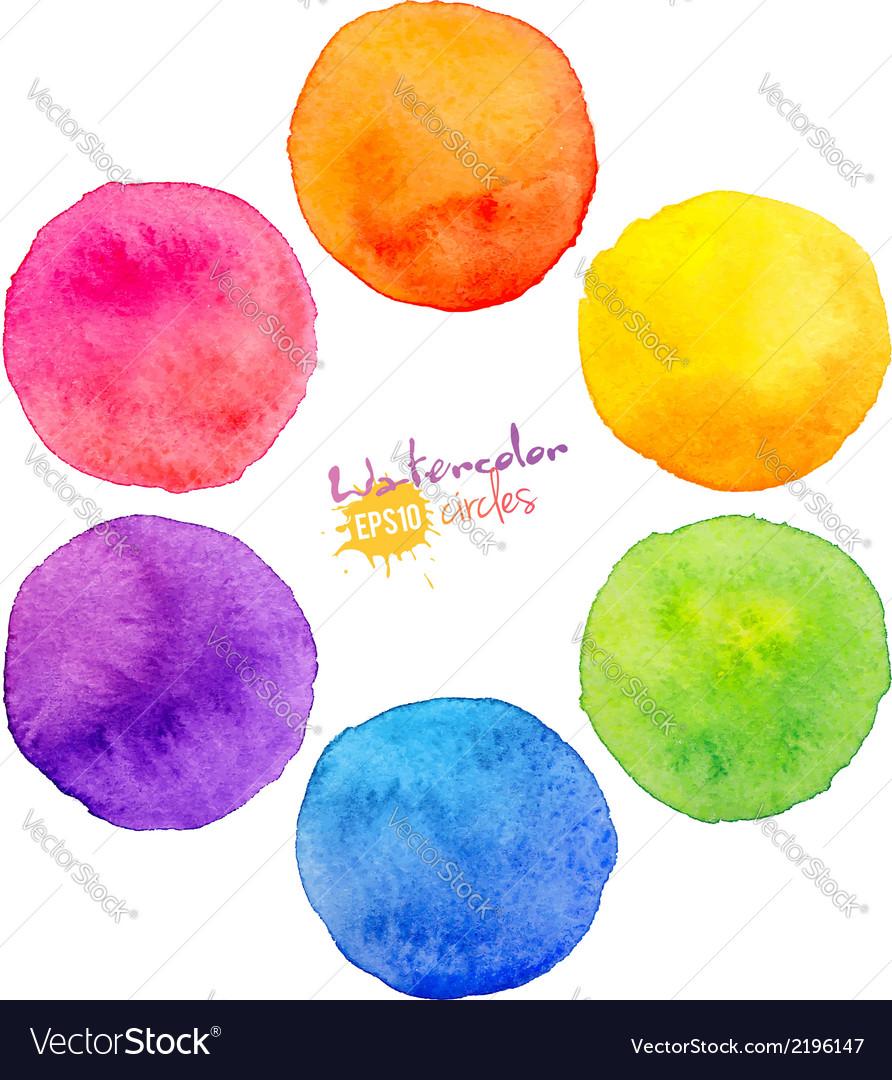 Rainbow watercolor circles vector image
