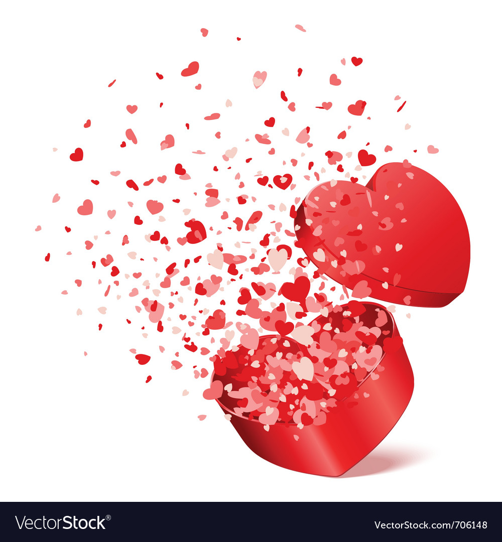 Bursting heart gift vector image