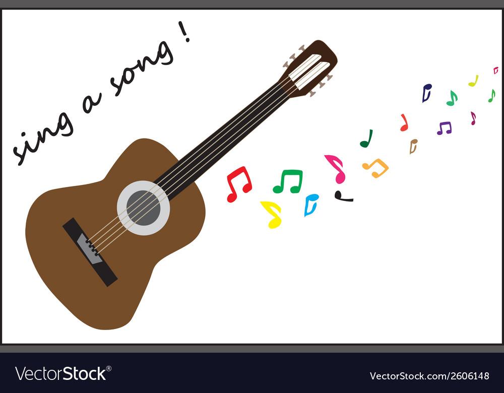 Brown guitar vector image