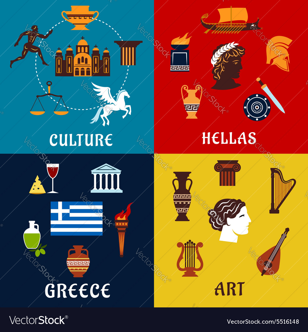 Culture art and history icons of Greece vector image