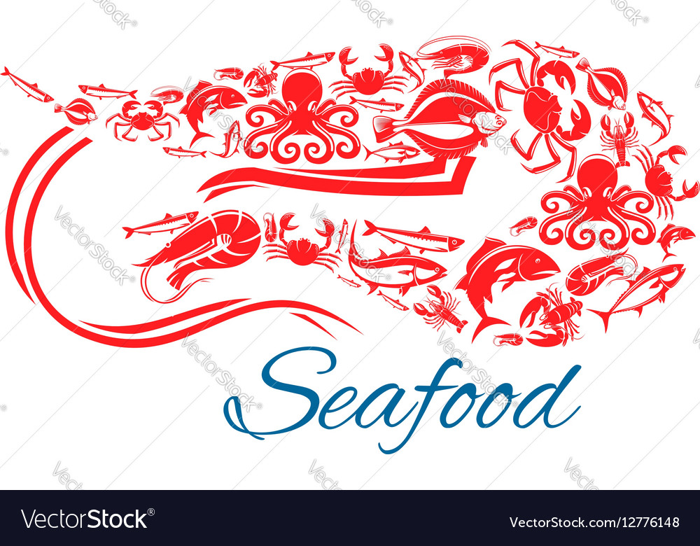 Seafood poster or symbol in shape of shrimp vector image