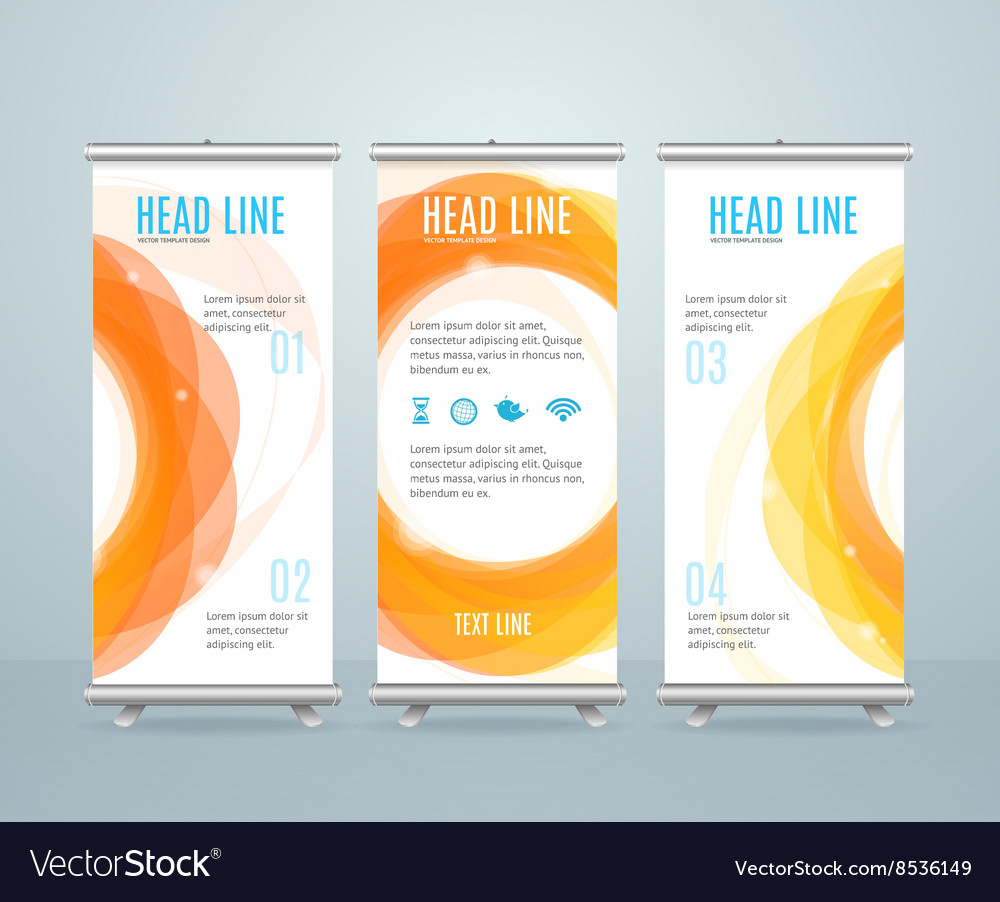 Roll Up Banner Stand Design Template Royalty Free Vector Image ...
