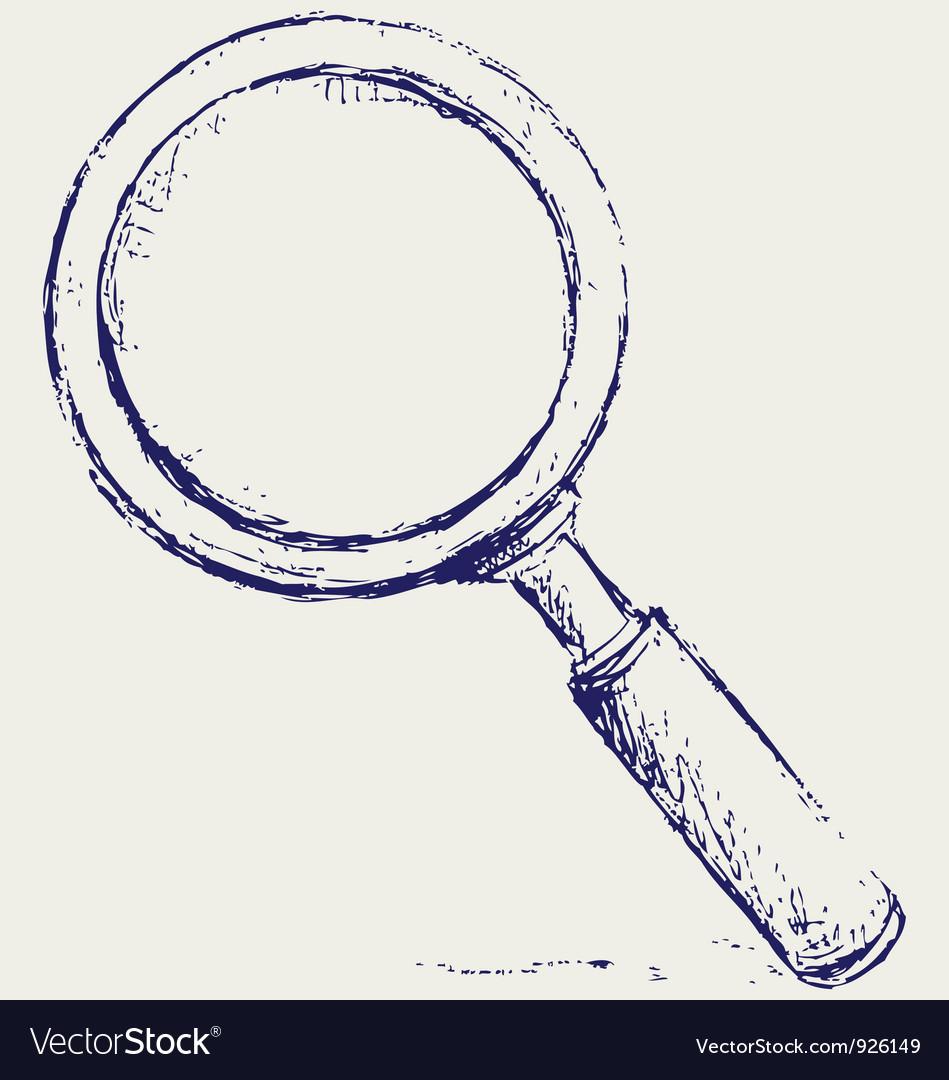 Handwritten magnifier vector image