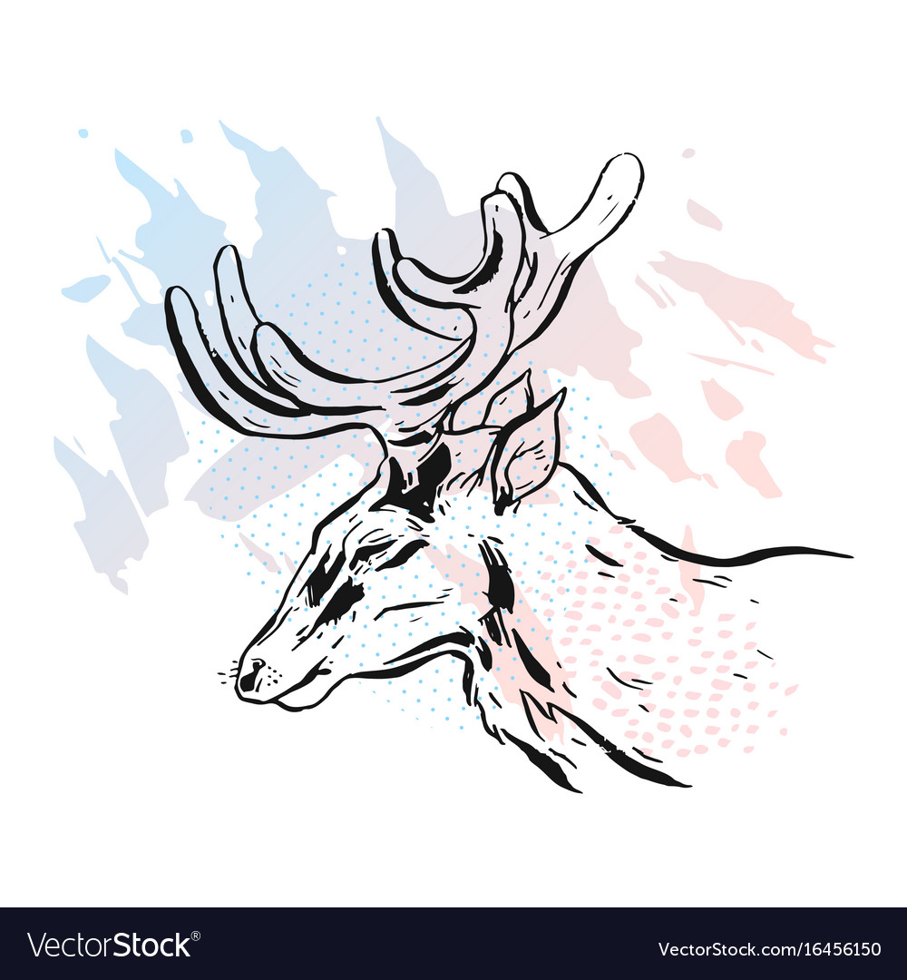 Deer on a white background deer unicorn cartoon vector image