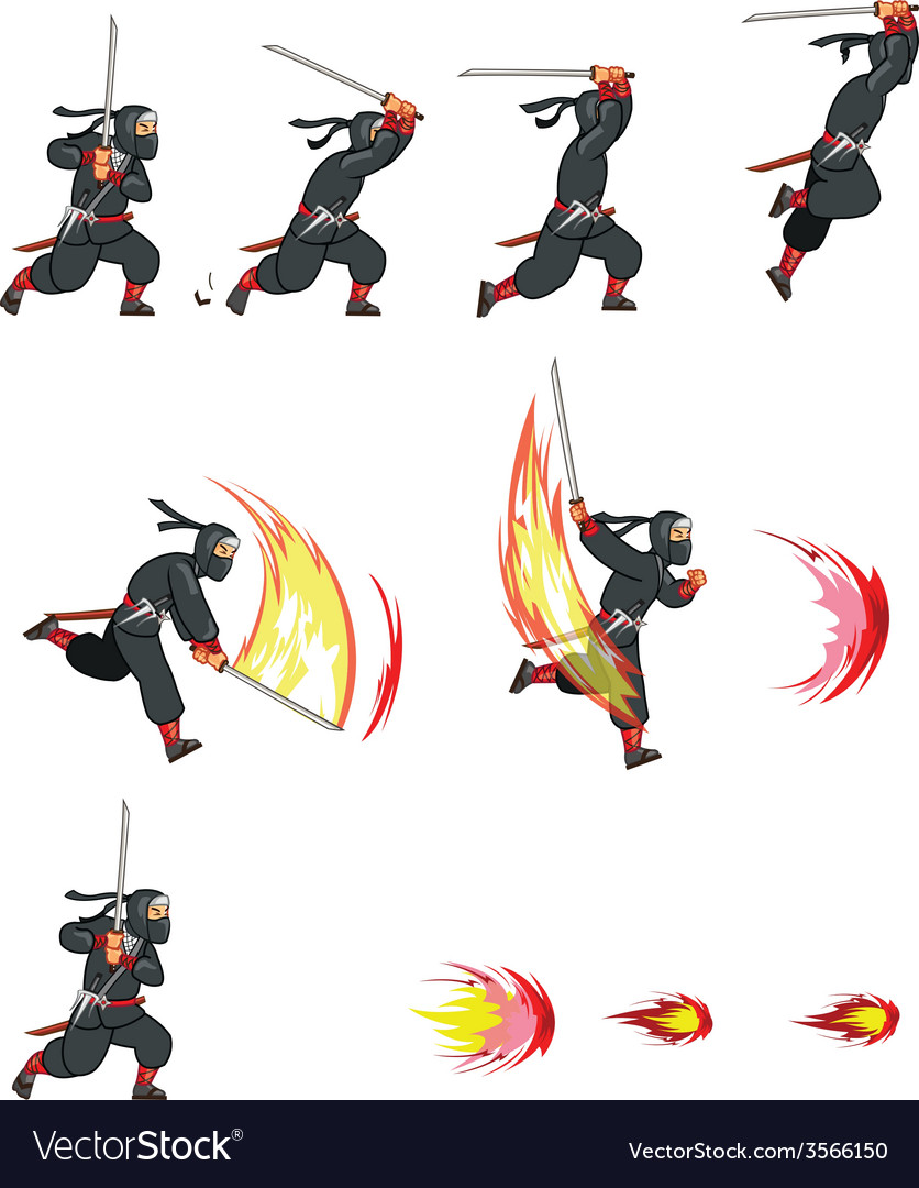 Ninja Attack Game Sprite vector image