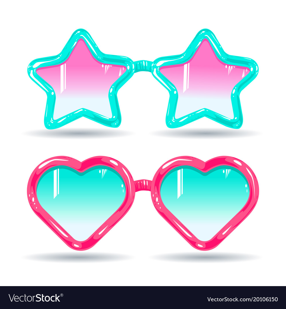 Sunglasses In Disco Style Color Glasses Pink And Vector Image