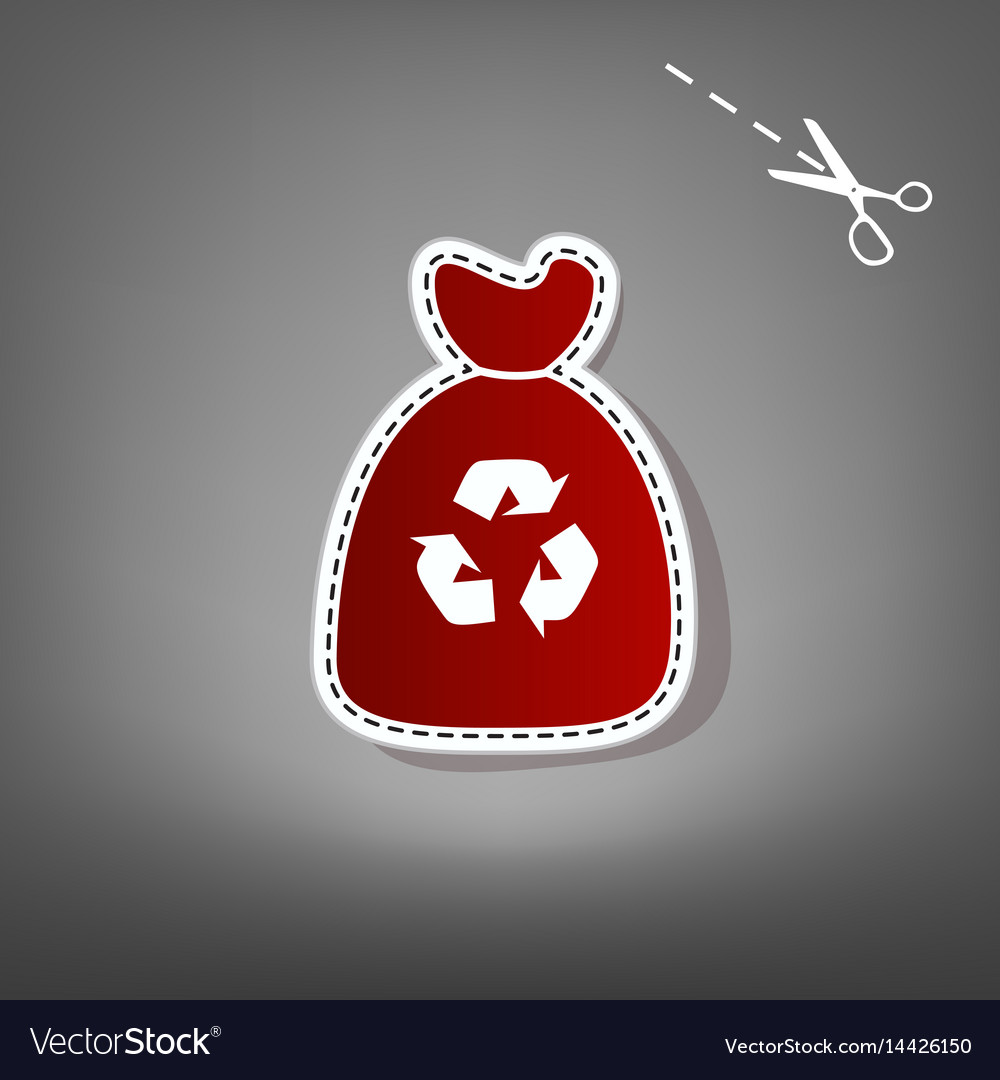 Trash bag icon red icon with for applique vector image