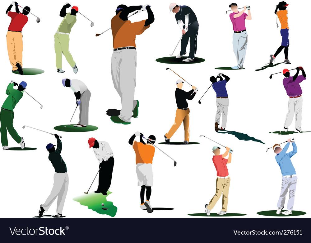Sixteen golfers vector image