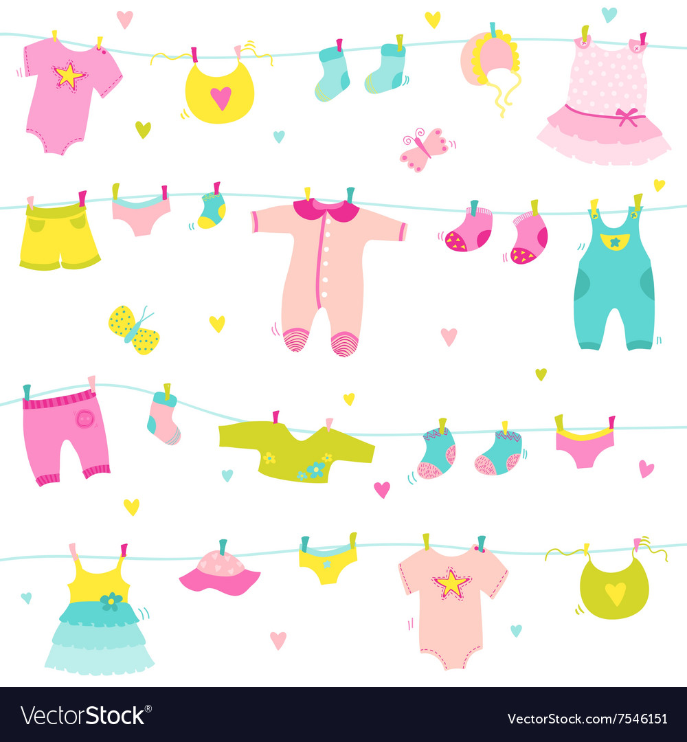 Baby Girl Cute Background - for Baby Shower vector image