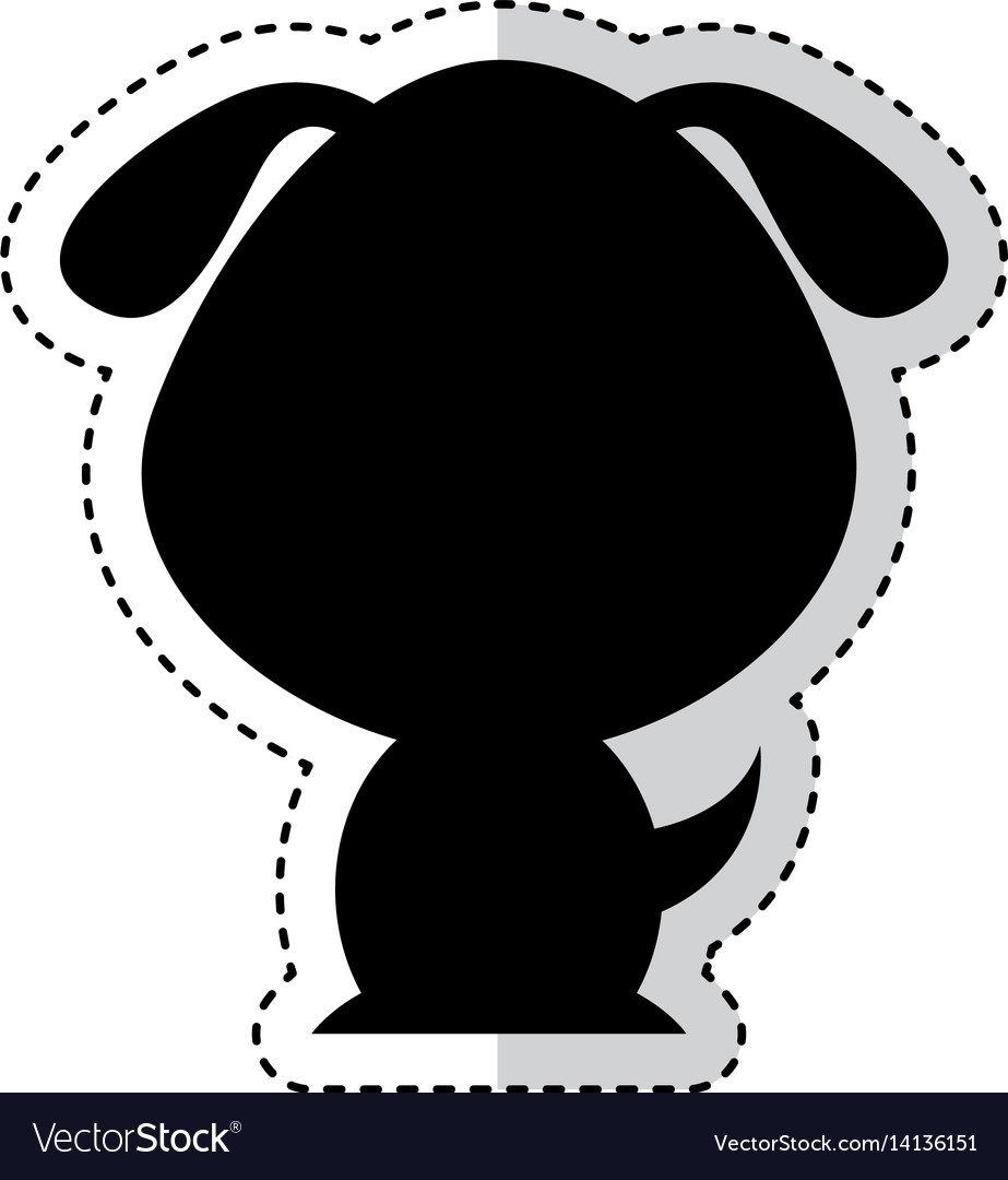 Cute dog silhouette isolated icon vector image
