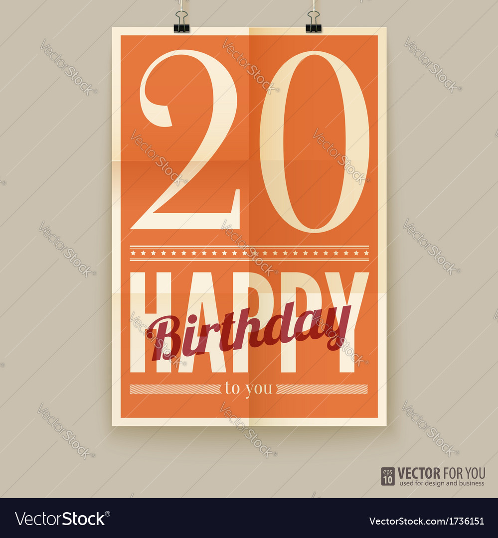 Happy birthday poster card twenty years old vector image