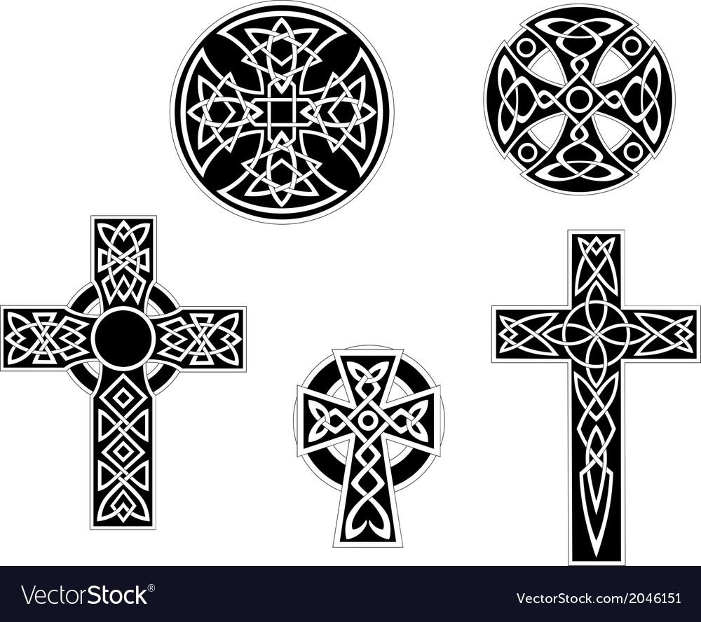 Set of vintage celtic crosses vector image