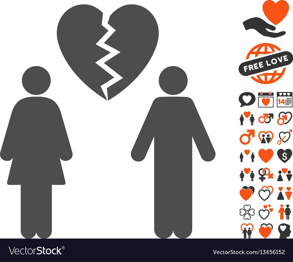 Family divorce icon with valentine bonus vector image