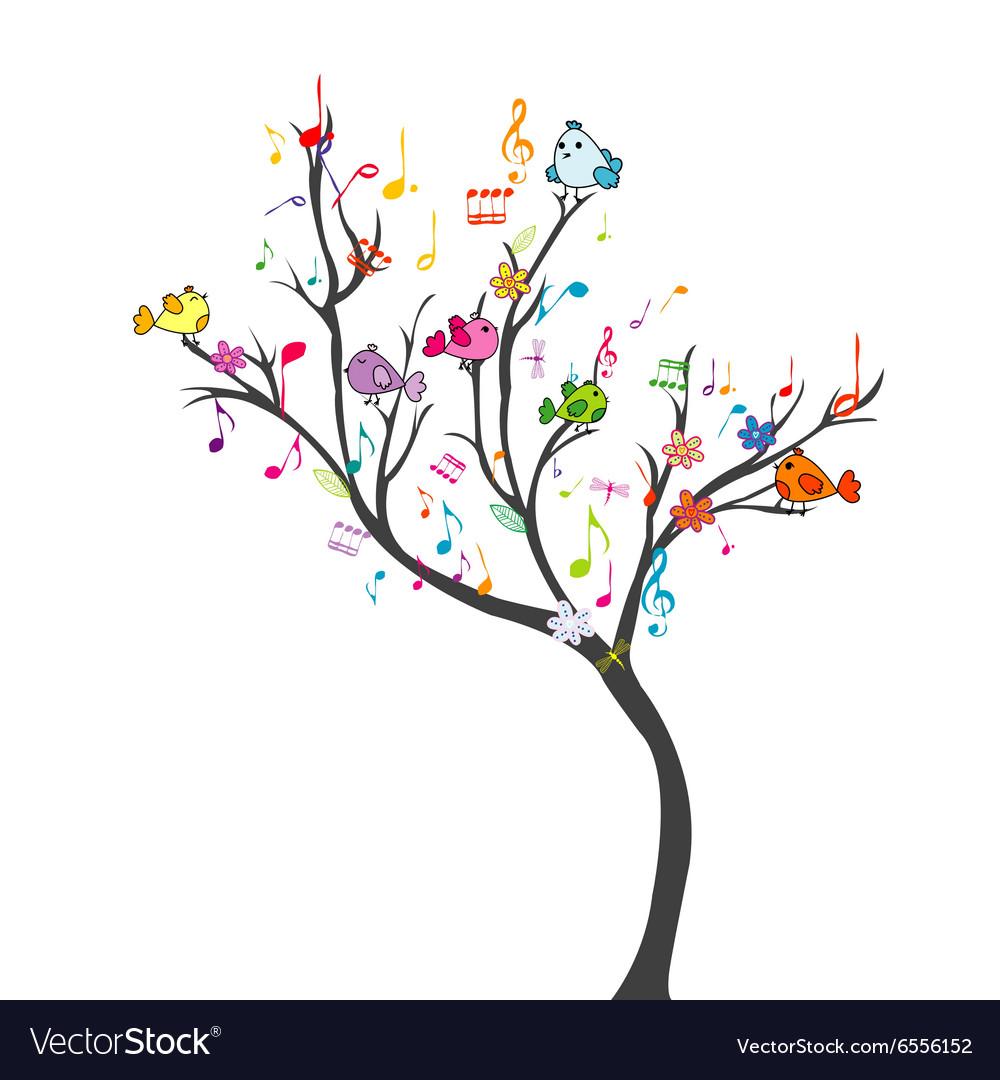 Happy tree with birds vector image