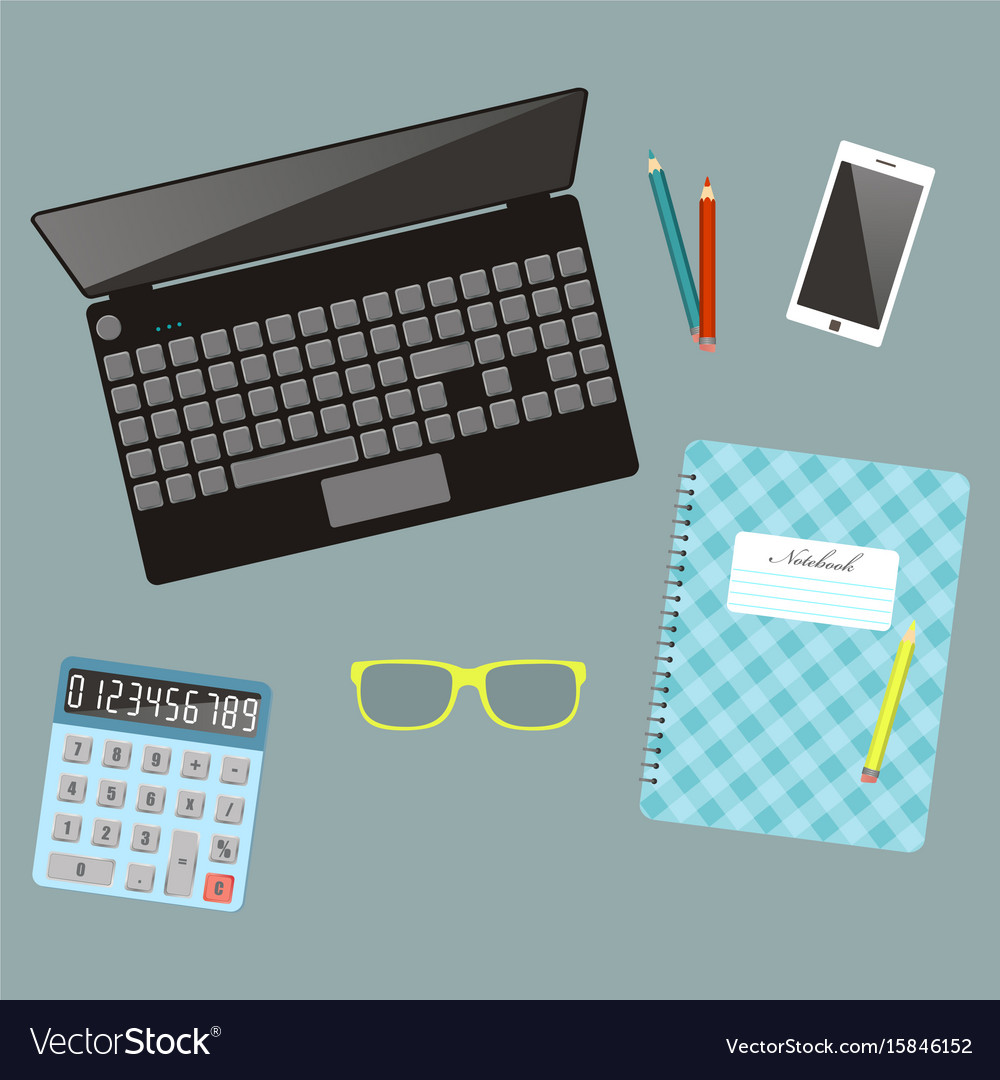 Laptop and ffice stationery workplace top view vector image