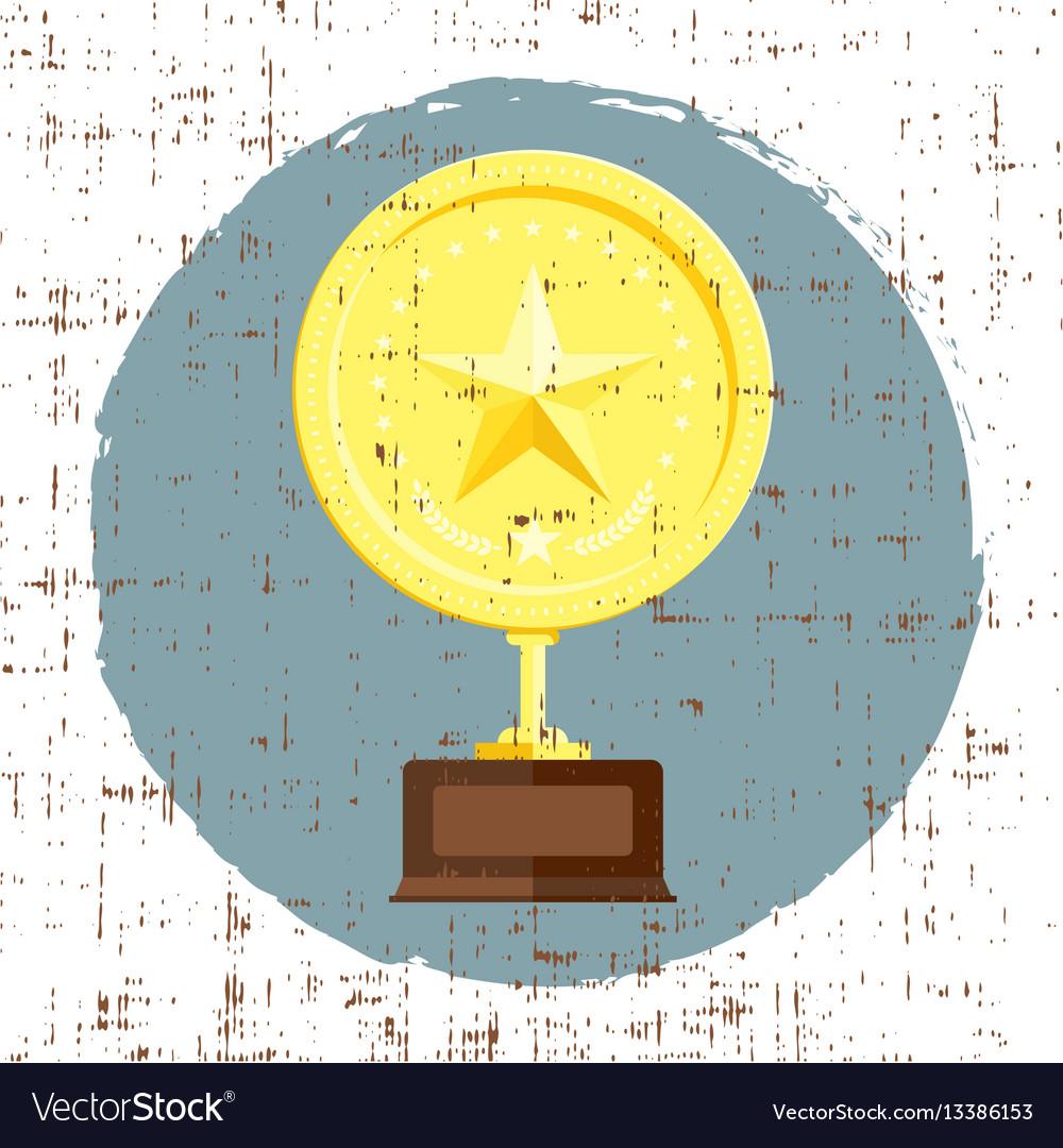 Golden star achievement award with grunge texture vector image