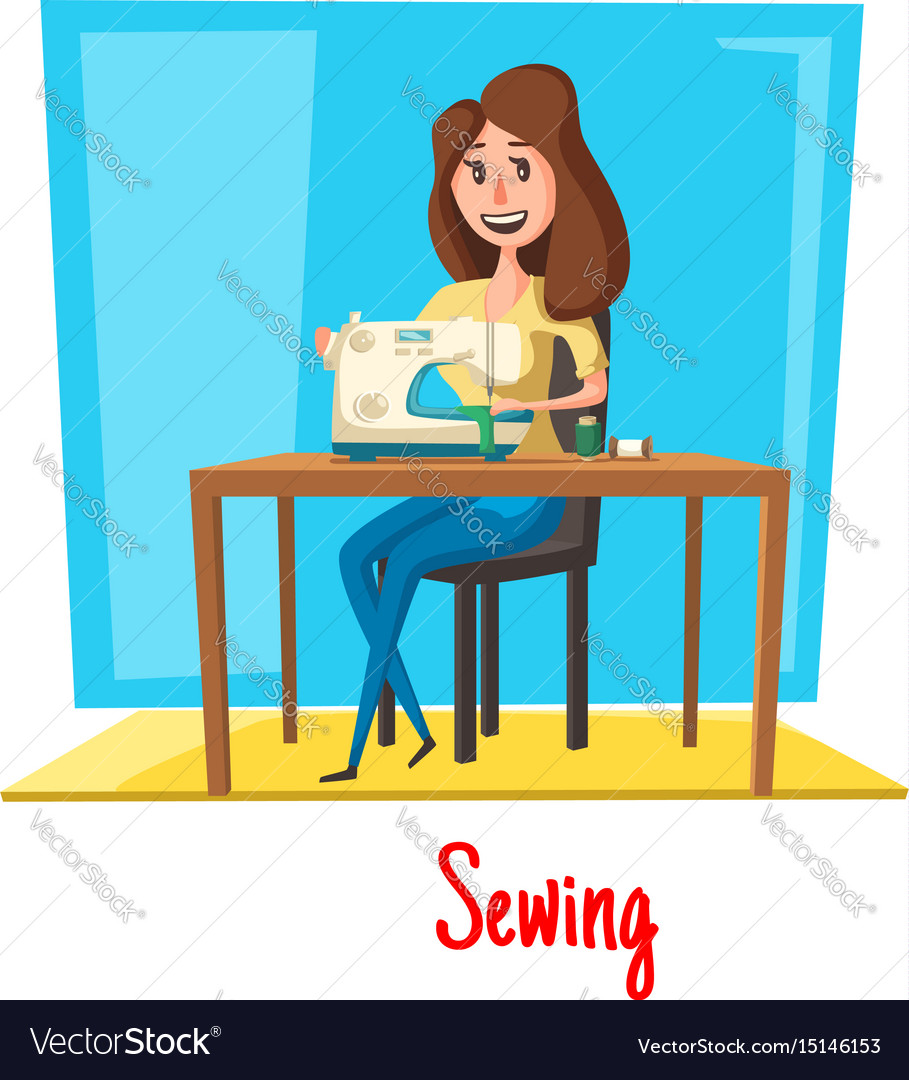 Sewing woman in atelier or dressmaker salon vector image