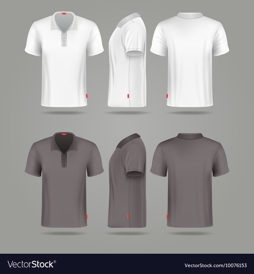 Black t shirt vector front and back - White Black Mens Polo T Shirt Front Back And Side Vector Image