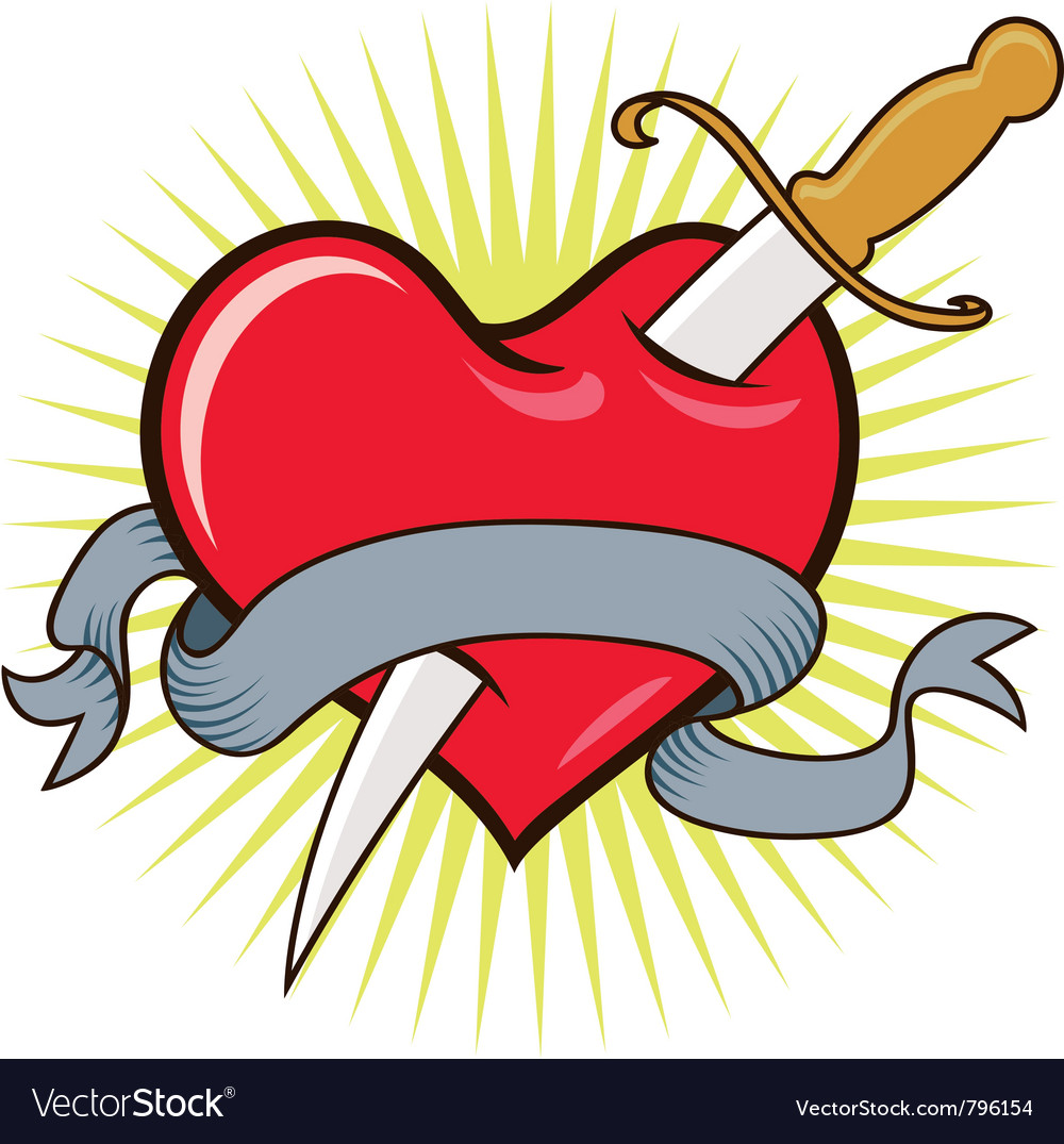 Realistic Knife In The Heart Drawing: Knife In Heart Royalty Free Vector Image