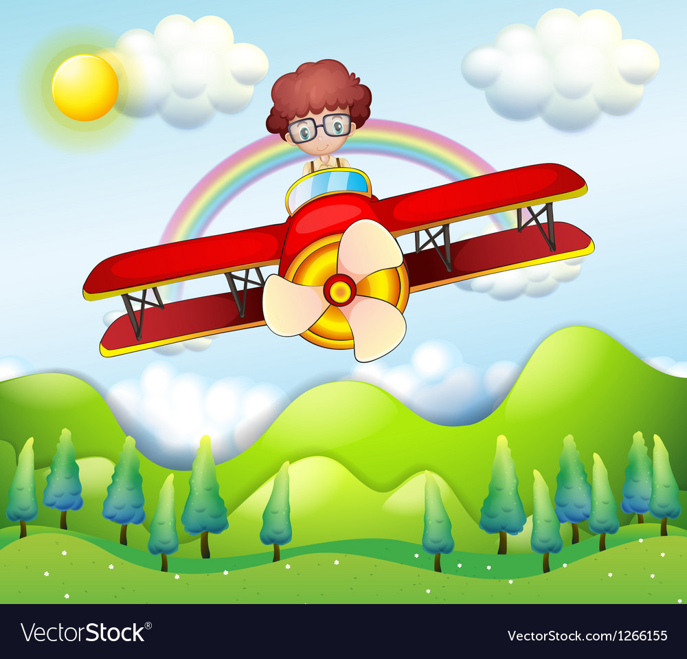 A boy riding in a red plane vector image