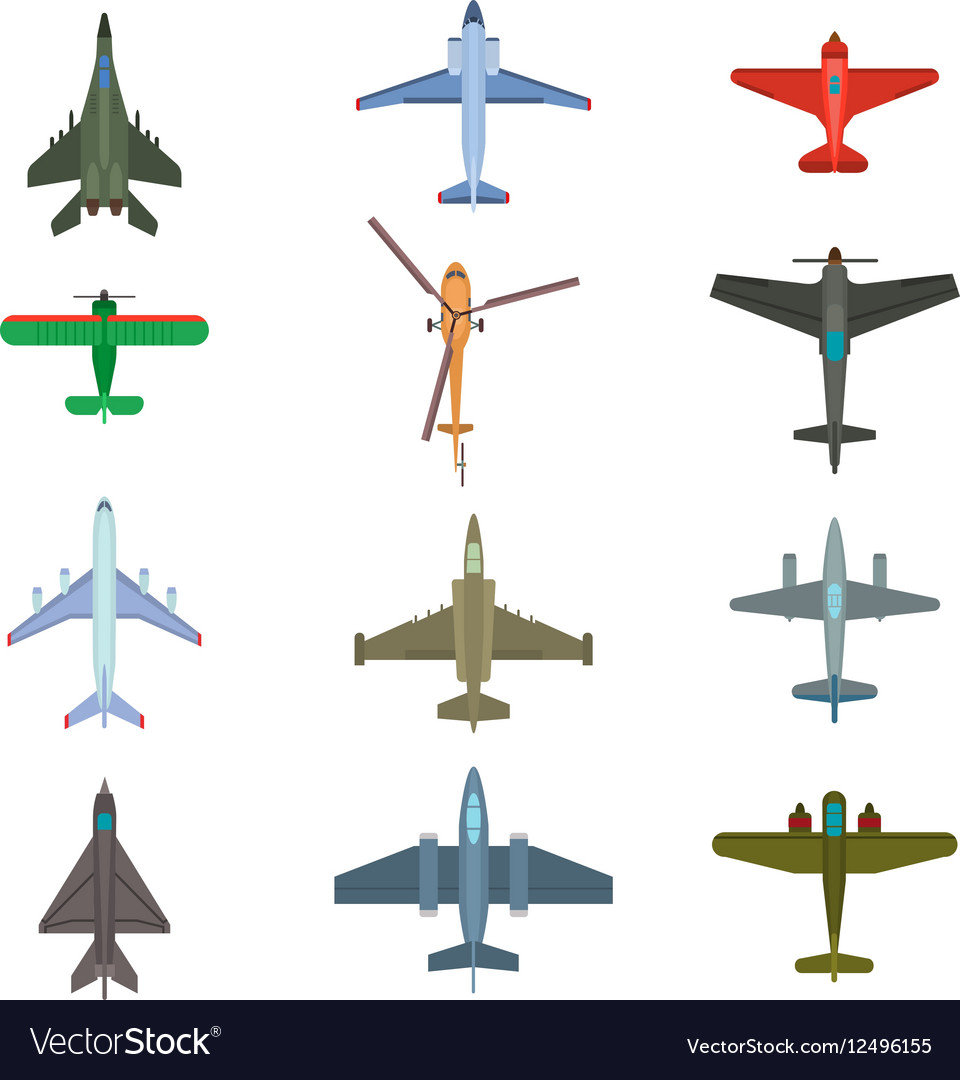 Aircraft top view vector image