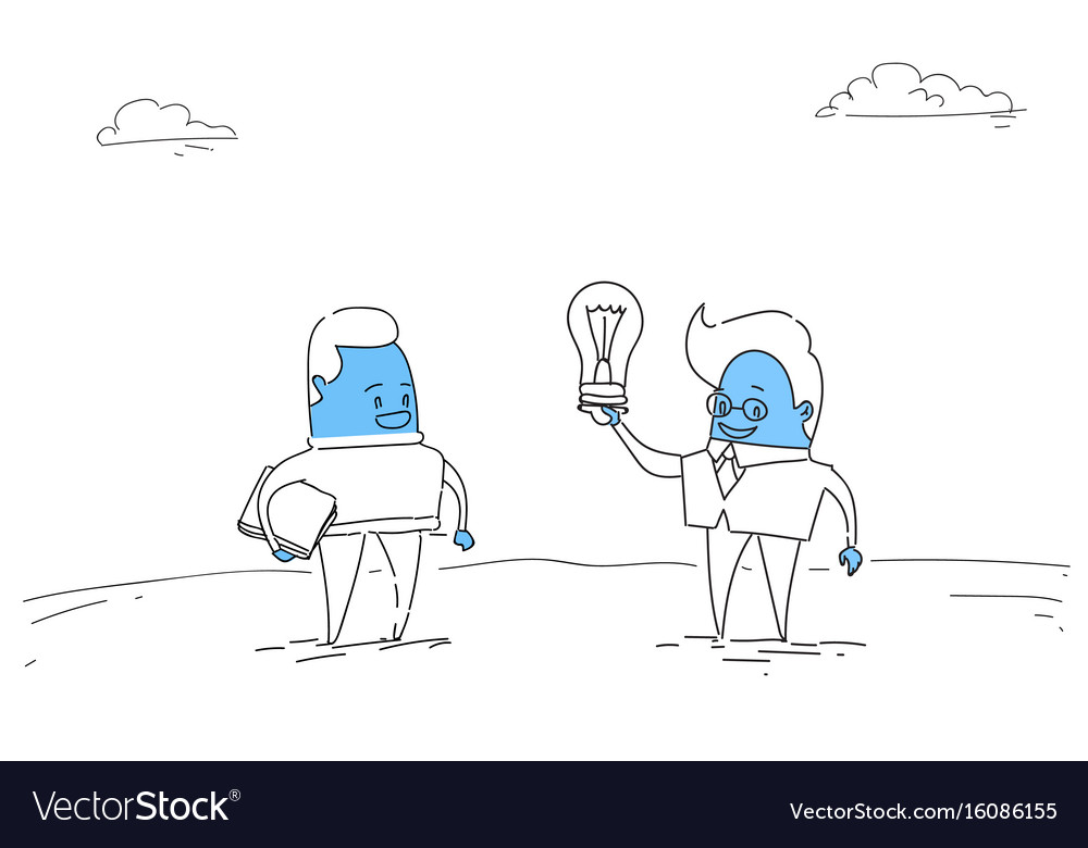 Two abstract business men new creative idea vector image