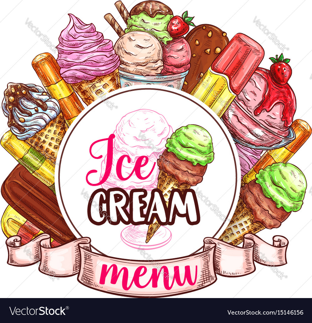 Ice cream menu template vector image