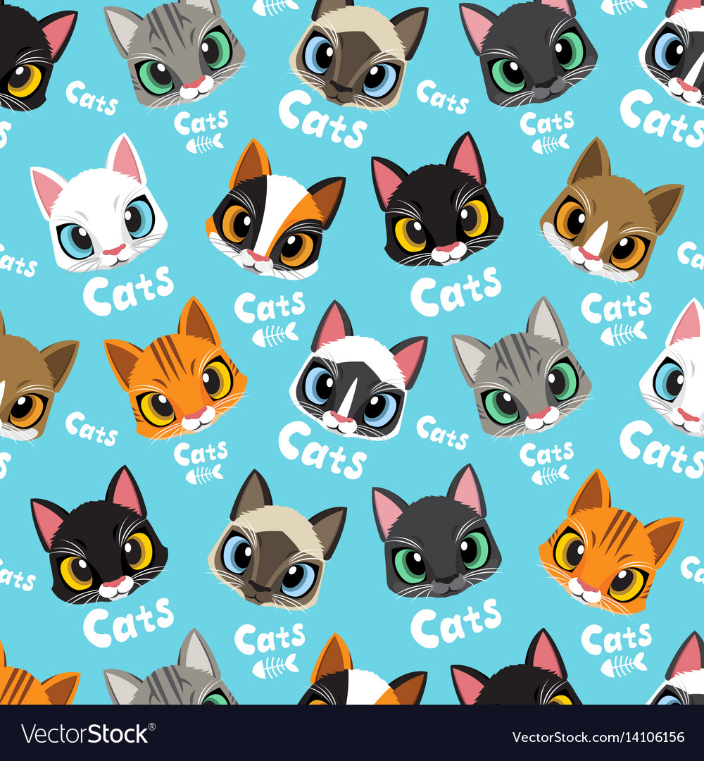 Love cats pattern vector image