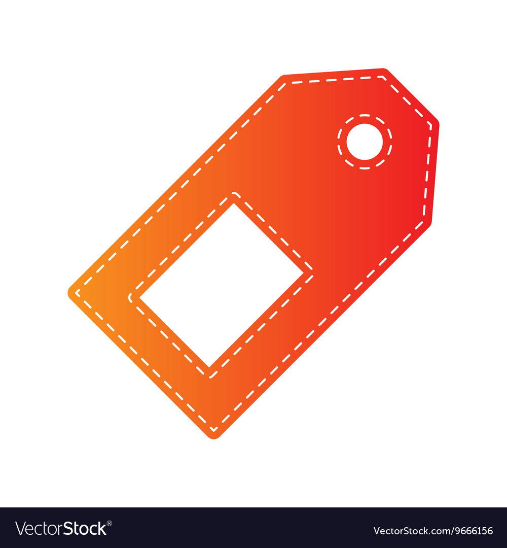 Price tag sign Orange applique isolated vector image