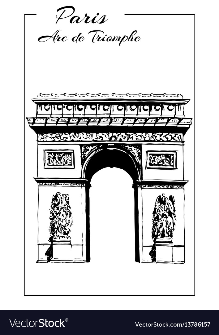 Arc de triomphe paris france triumphal arch vector image