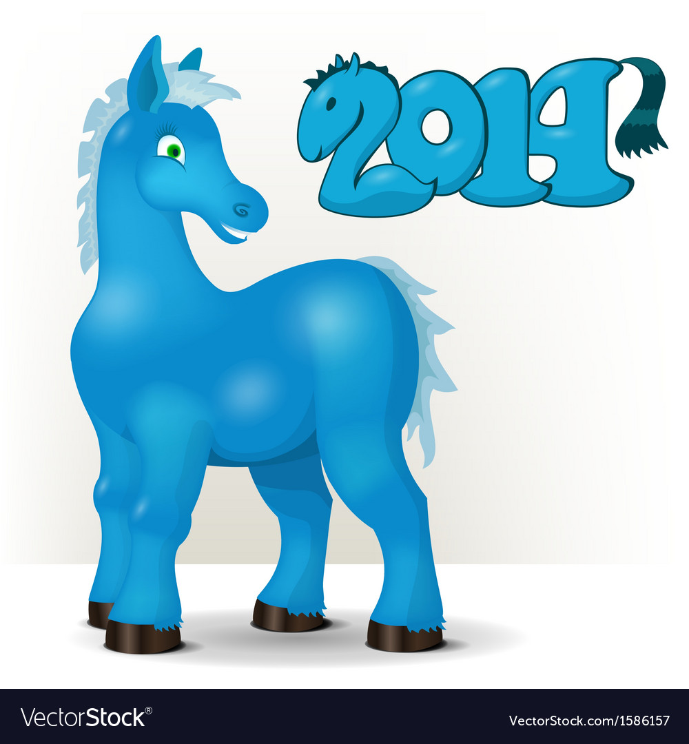 Cute blue horse wishes a happy new year 2014 vector image