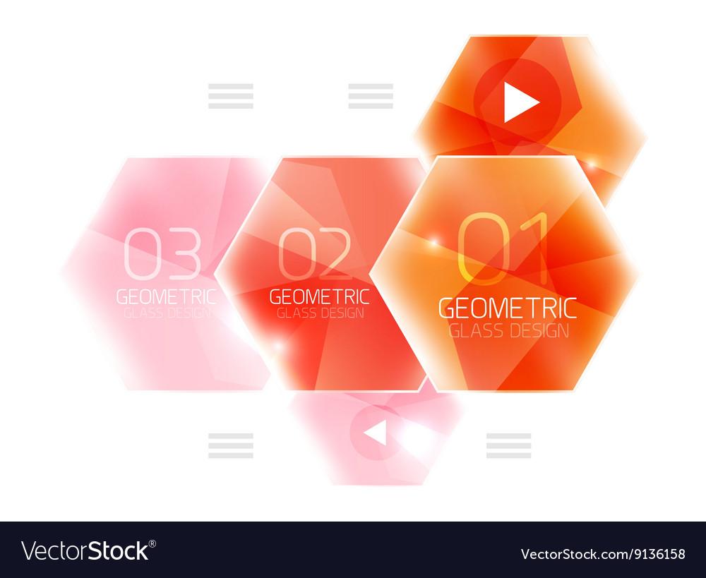 Colorful hexagon web box Royalty Free Vector Image