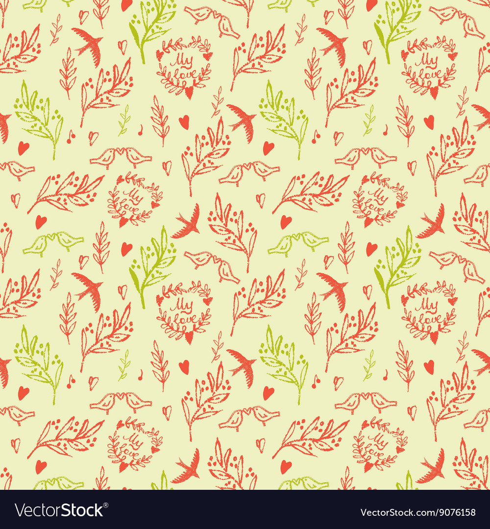 Seamless pattern with tree and flying birds vector image