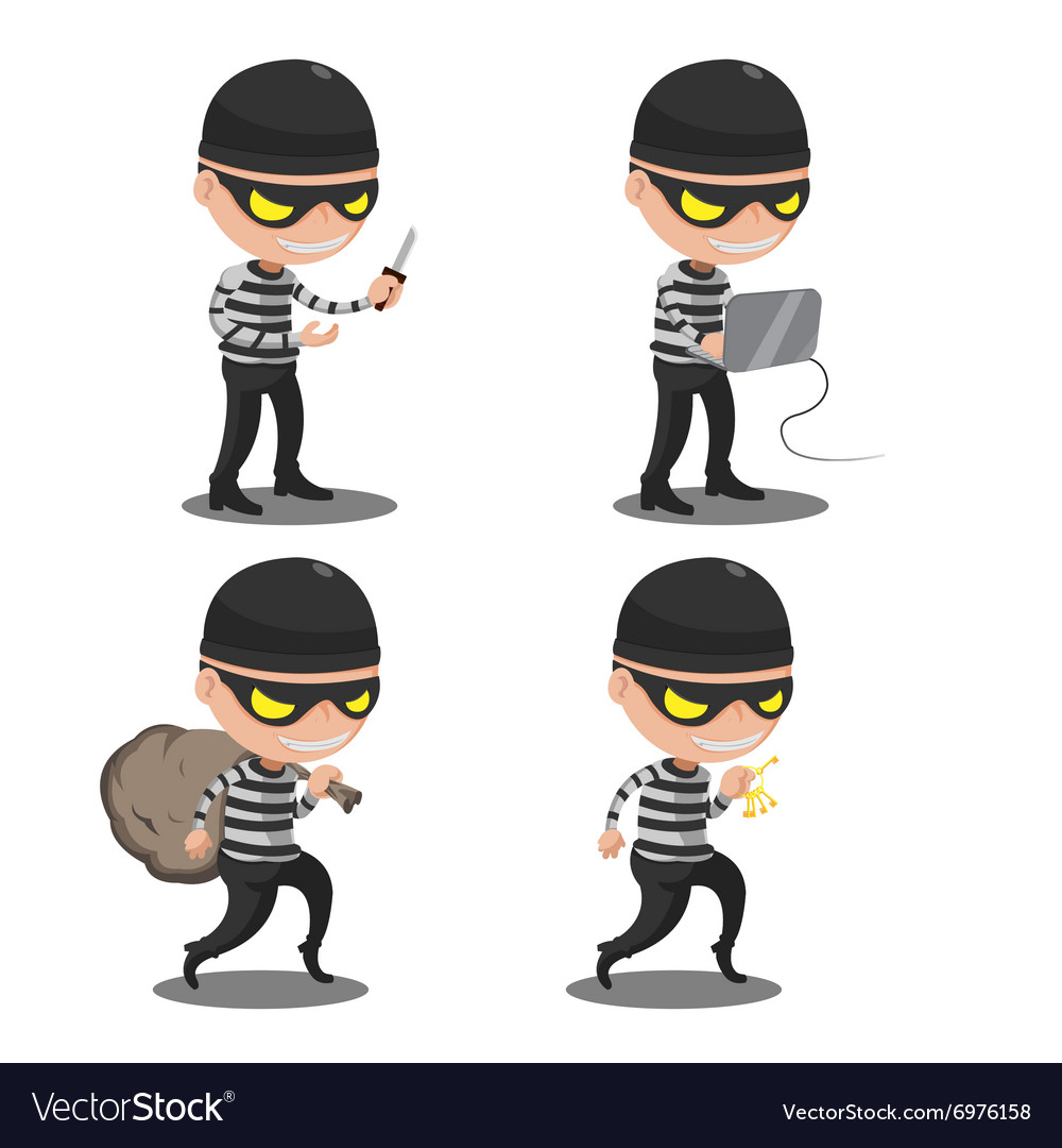 Thief Mask Steal Cartoon Character vector image