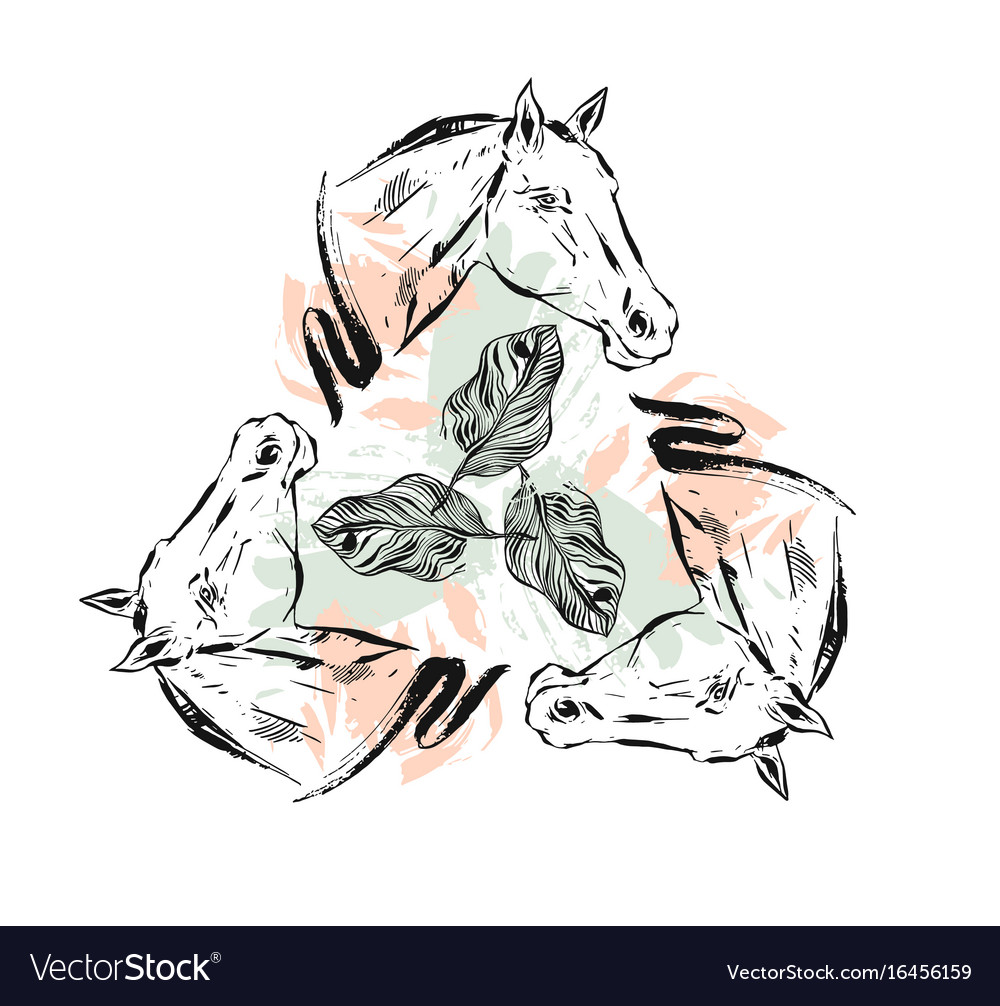 Hand drawn textured lined ink graphic vector image