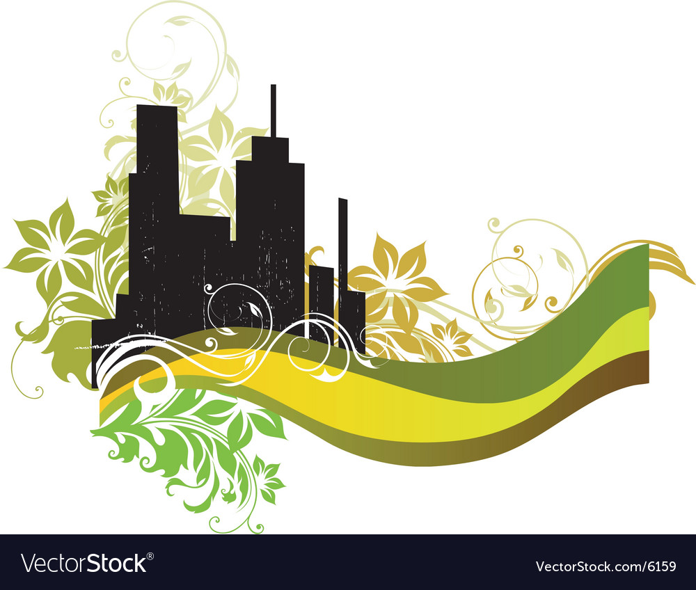 Urban floral city vector image