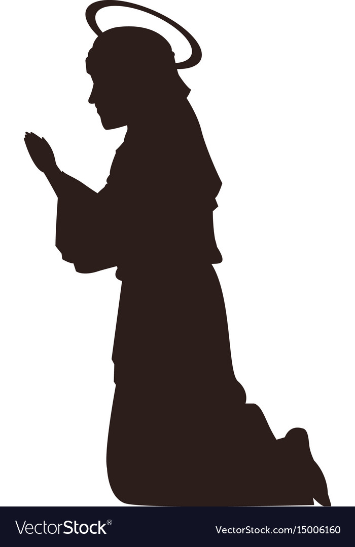 Silhouette virgin mary praying on knees vector image