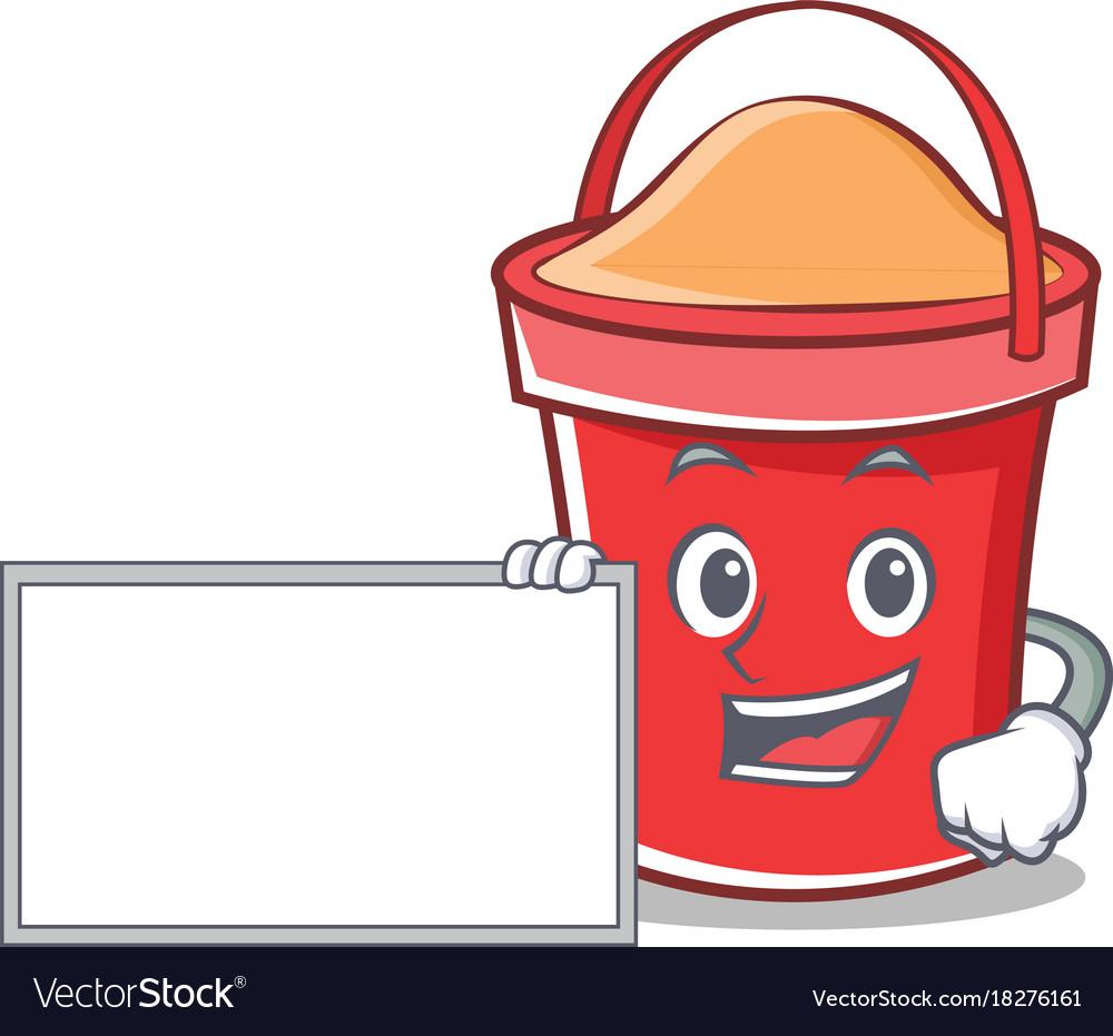 With board bucket character cartoon style vector image