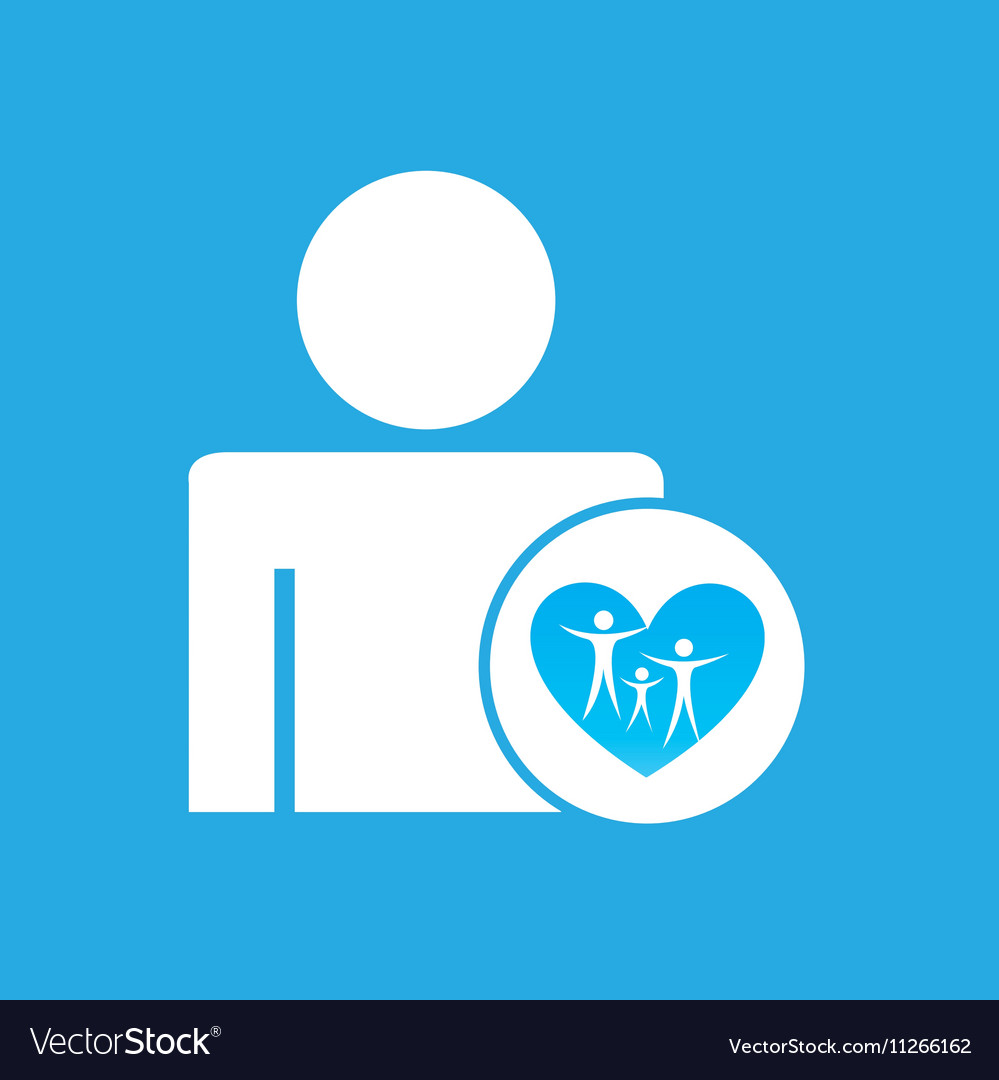 Silhouette man with family care health graphic vector image