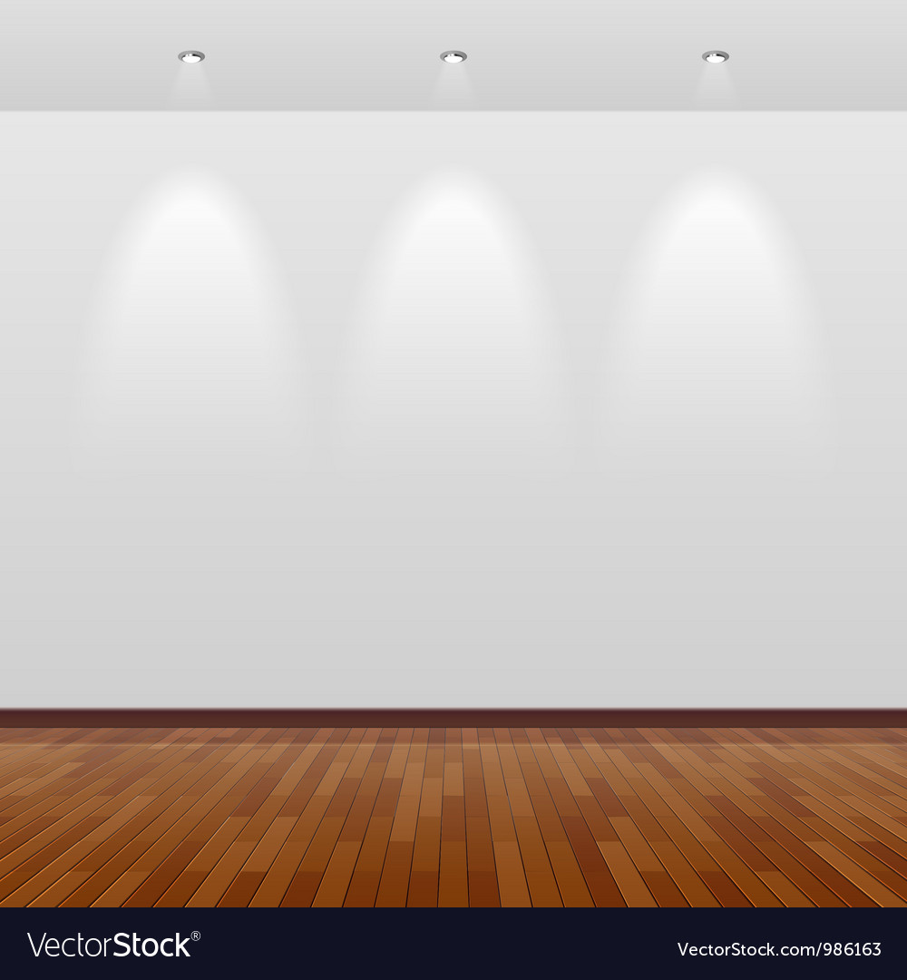 Room with white wall and wooden floor vector image