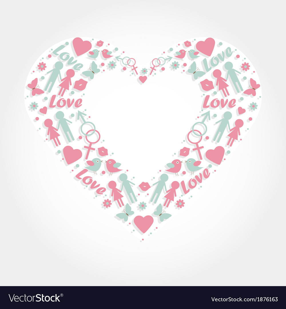 Heart with love symbols royalty free vector image heart with love symbols vector image buycottarizona Image collections