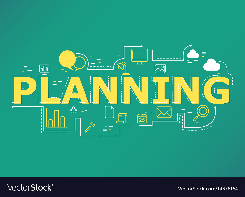 Creative of planing word lettering typography vector image