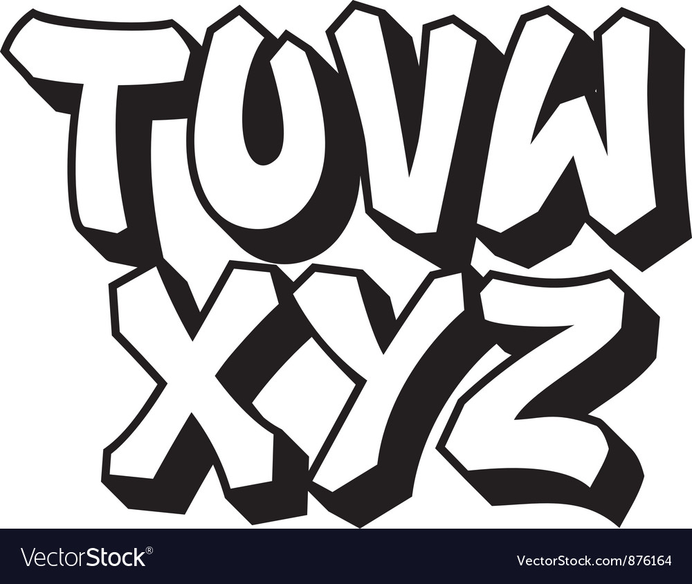 Graffiti font part 3 vector image