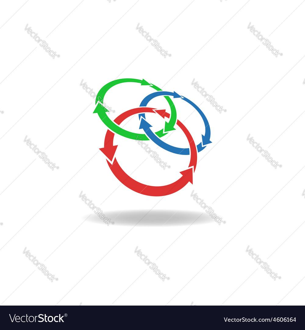 Three circles arrows loop logo cycles three vector image