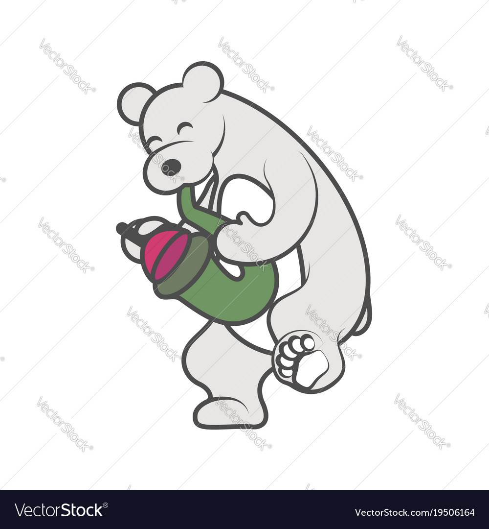 White bear is playing a musical instrument vector image