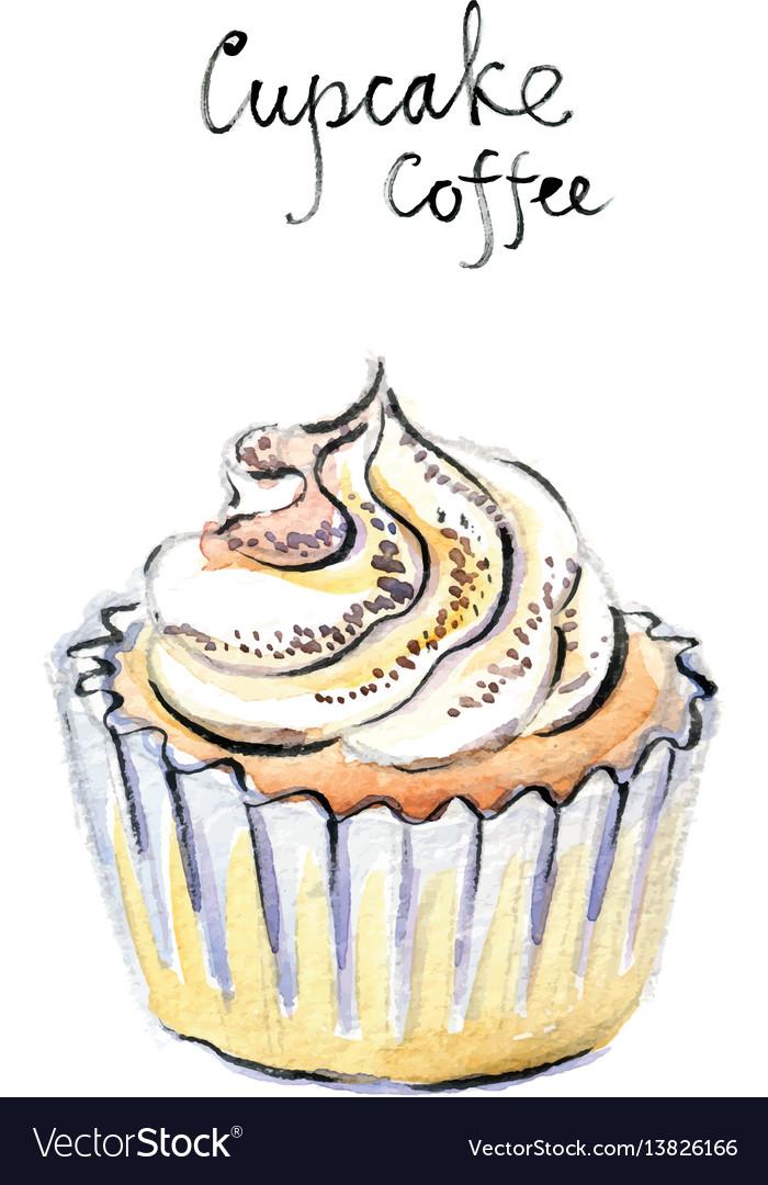 Watercolor cupcake coffee vector image
