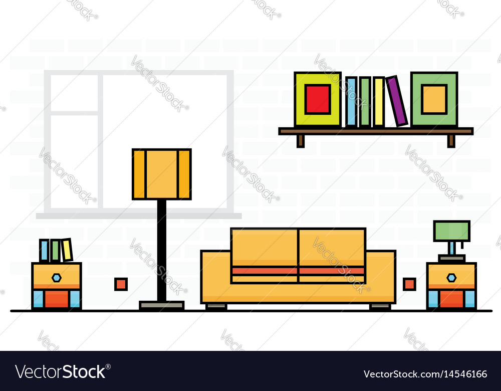 Yellow sofa with two curbstones and lampshade vector image